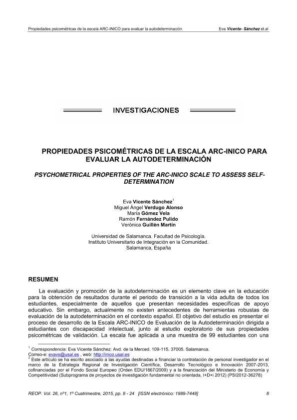 Propiedades psicométricas de la Escala ARC-INICO para evaluar la autodeterminación