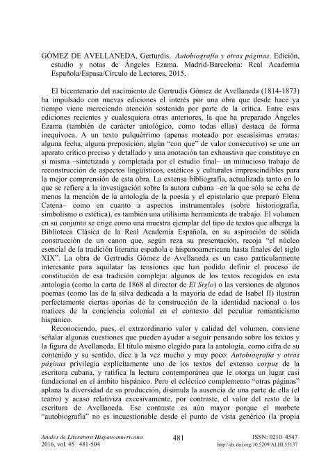 Gertrudis Gómez de Avellaneda: Autobiografía y otras páginas