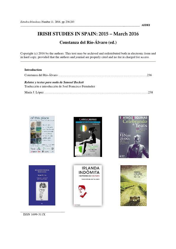 Irish Studies in Spain: 2015-March 2016