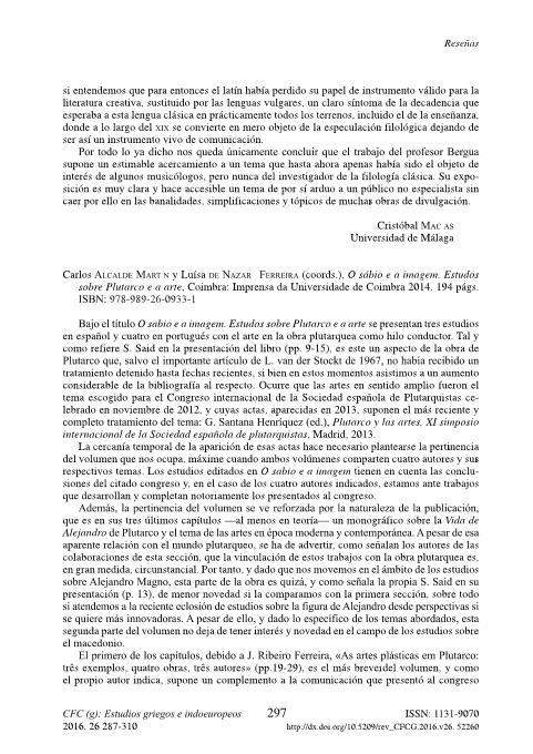 Carlos Alcalde Martín y Luísa de Nazaré Ferreira (coords.), O sábio e a imagem. Estudos sobre Plutarco e a arte