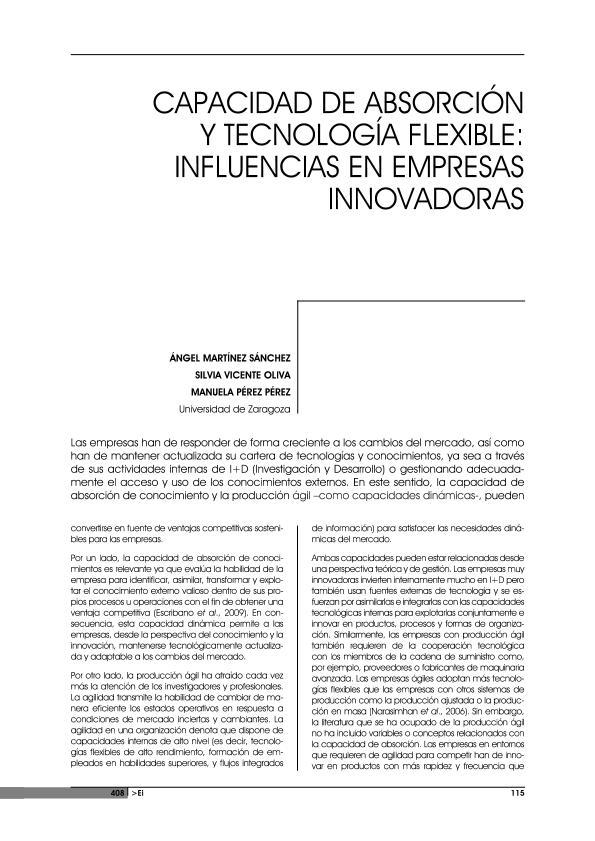 Capacidad de absorción y tecnología flexible: Influencias en empresas innovadoras