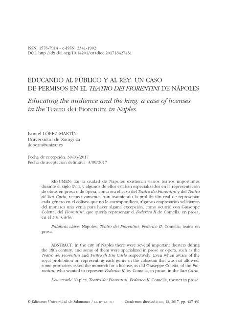 Educando al público y al rey: un caso de permisos en el Teatro dei Fiorentini de Nápoles