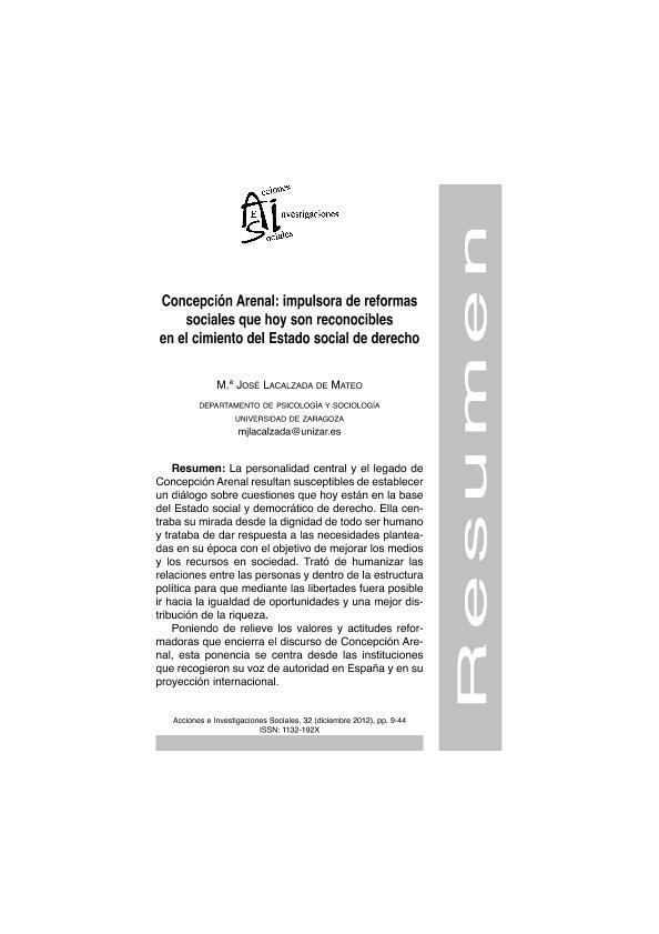 Concepción Arenal impulsora de reformas sociales que hoy son reconocibles en el cimiento de Estado Social de Derecho