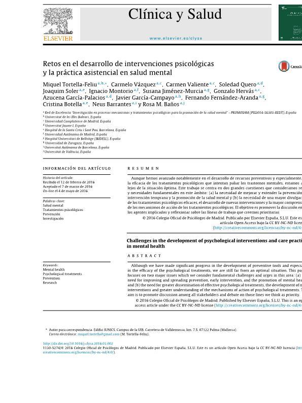 Retos en el desarrollo de intervenciones psicológicas y la práctica asistencial en salud mental