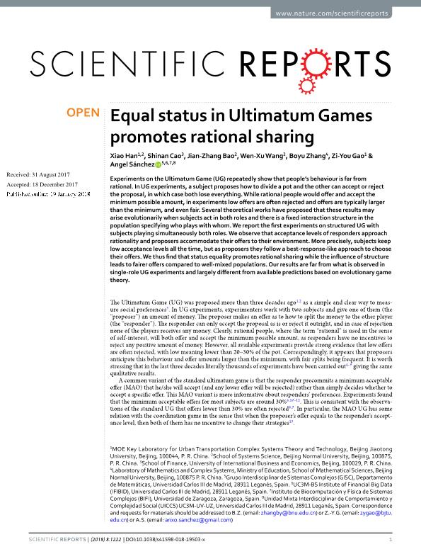 Equal status in Ultimatum Games promotes rational sharing