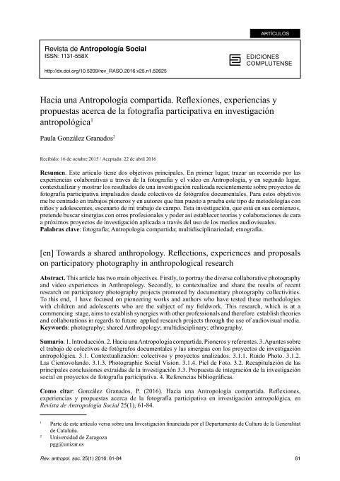 Hacia una Antropología compartida. Reflexiones, experiencias y propuestas acerca de la fotografía participativa en investigación antropológica