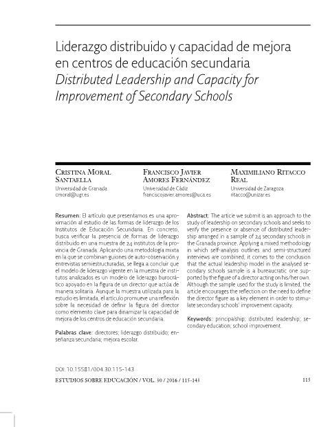 Liderazgo distribuido y capacidad de mejora en centros de educación secundaria