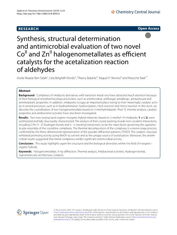 Synthesis, structural determination and antimicrobial evaluation of two novel CoII and ZnII halogenometallates as efficient catalysts for the acetalization reaction of aldehydes