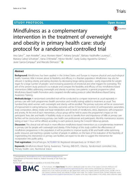 Mindfulness as a complementary intervention in the treatment of overweight and obesity in primary health care: Study protocol for a randomised controlled trial