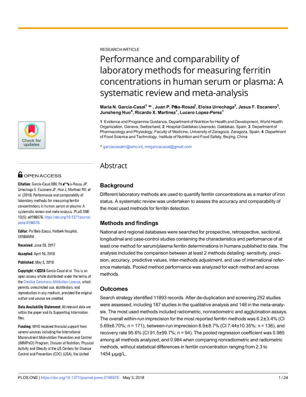 Performance and comparability of laboratory methods for measuring ferritin concentrations in human serum or plasma: A systematic review and meta-analysis