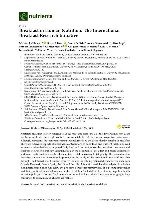 Breakfast in human nutrition: The international breakfast research initiative