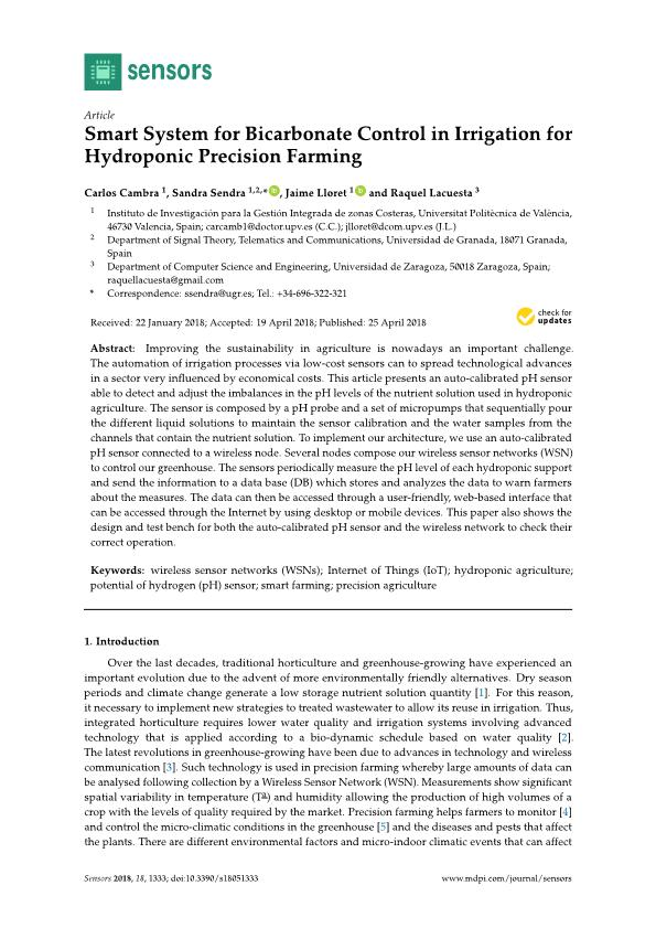 Smart system for bicarbonate control in irrigation for hydroponic precision farming