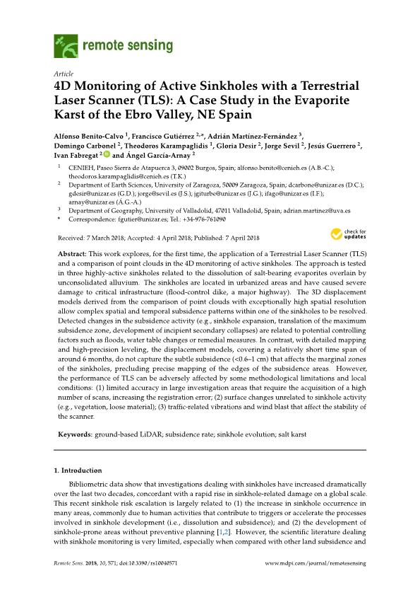 4D monitoring of active sinkholes with a Terrestrial Laser Scanner (TLS): A Case study in the evaporite karst of the Ebro Valley, NE Spain