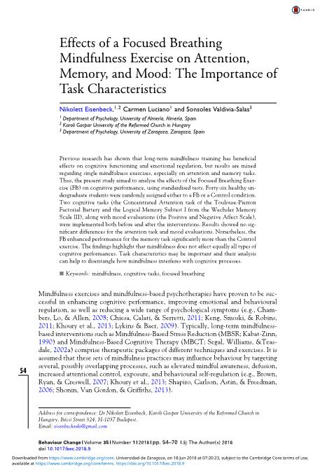 Effects of a Focused Breathing Mindfulness Exercise on Attention, Memory, and Mood: The Importance of Task Characteristics