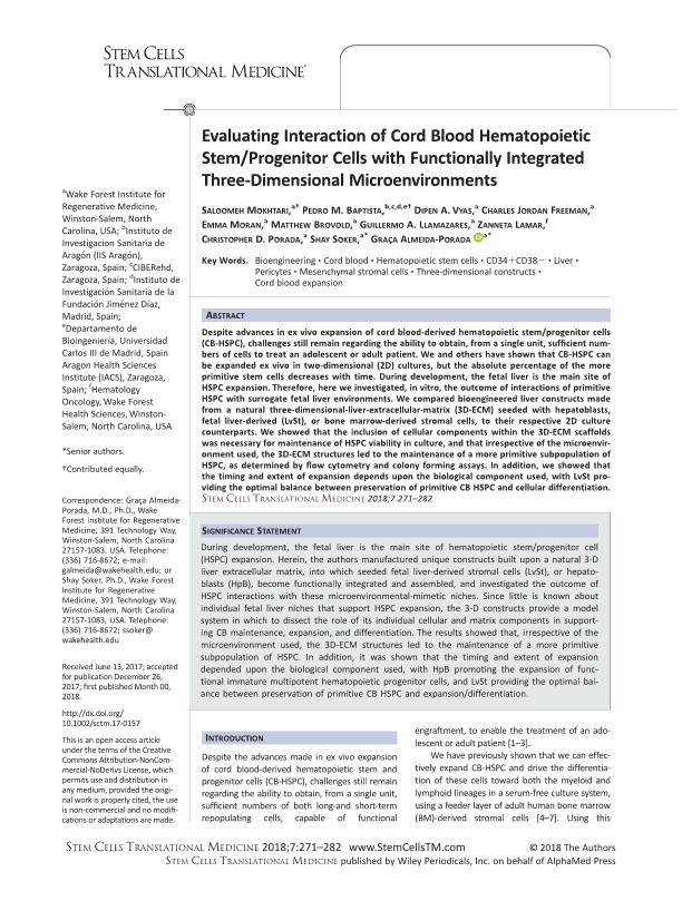 Evaluating Interaction of Cord Blood Hematopoietic Stem/Progenitor Cells with Functionally Integrated Three-Dimensional Microenvironments