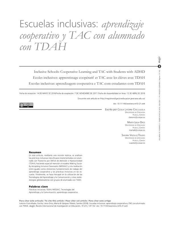 Escuelas inclusivas: aprendizaje cooperativo y TAC con alumnado con TDAH