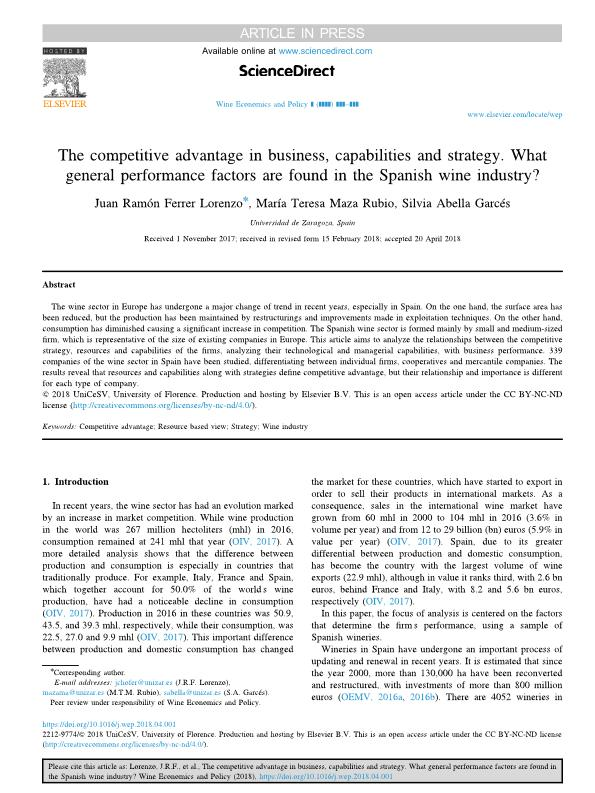 The competitive advantage in business, capabilities and strategy. What general performance factors are found in the Spanish wine industry?
