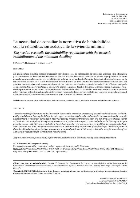 La necesidad de conciliar la normativa de habitabilidad con la rehabilitación acústica de la vivienda mínima