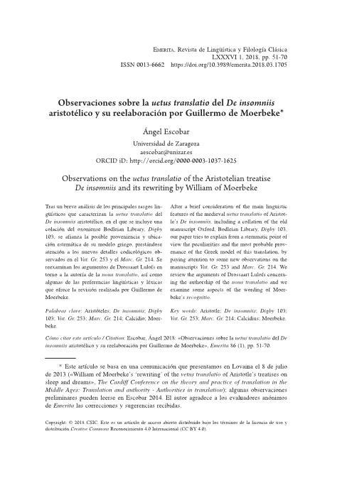 Observaciones sobre la uetus translatio del De insomniis aristotélico y su reelaboración por Guillermo de Moerbeke