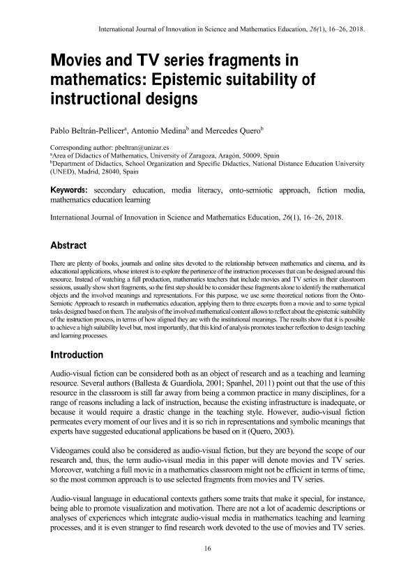 Movies and TV series fragments in mathematics: Epistemic suitability of instructional designs