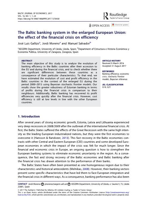The Baltic banking system in the enlarged European Union: The effect of the financial crisis on efficiency