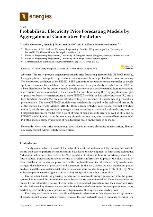 Probabilistic electricity price forecasting models by aggregation of competitive predictors