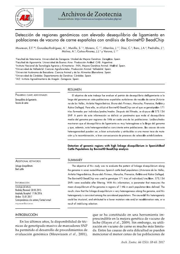 Detección de regiones genómicas con elevado desequilibrio de ligamiento en poblaciones de vacuno de carne españolas con análisis de BovineHD BeadChip
