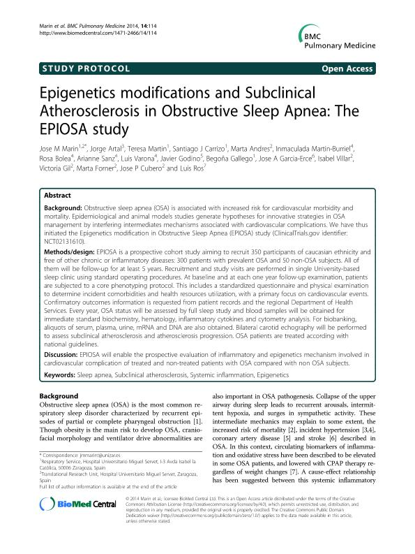 Epigenetics modifications and Subclinical Atherosclerosis in Obstructive Sleep Apnea: The EPIOSA study.