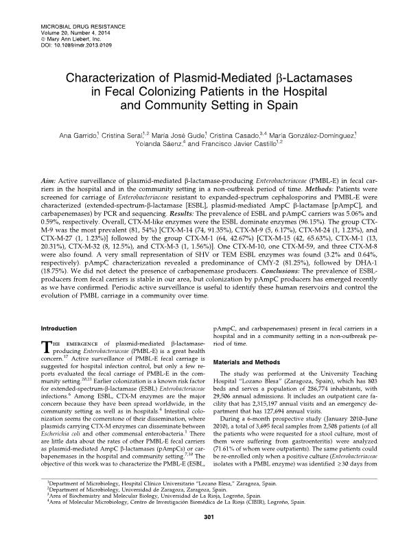 Characterization of plasmid-mediated beta-lactamases in fecal colonizing patients in the hospital and community setting in Spain