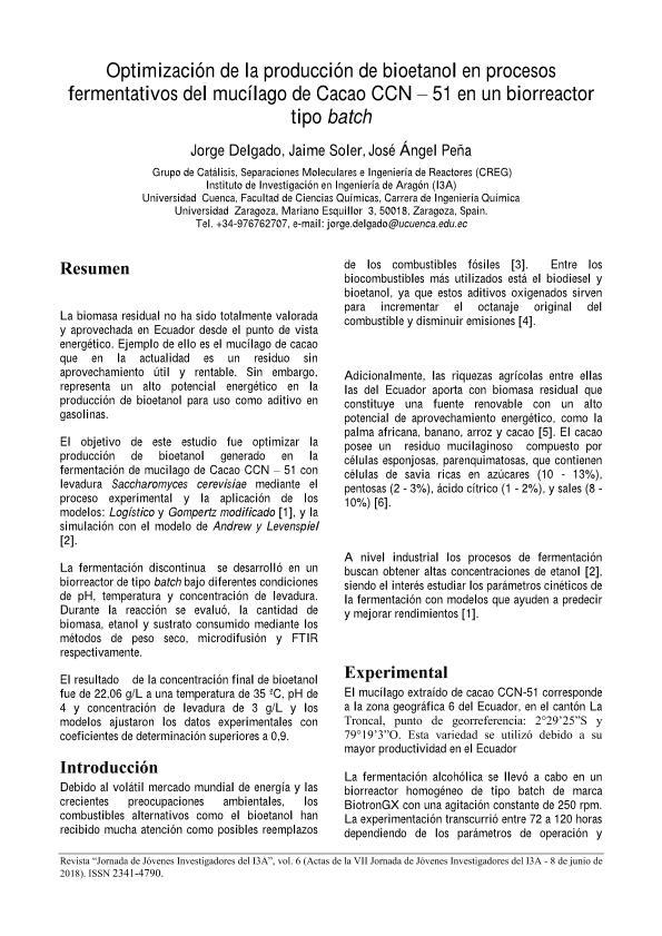 Optimización de la producción de bioetanol en procesos fermentativos del mucílago de Cacao CCN – 51 en un biorreactor tipo batch