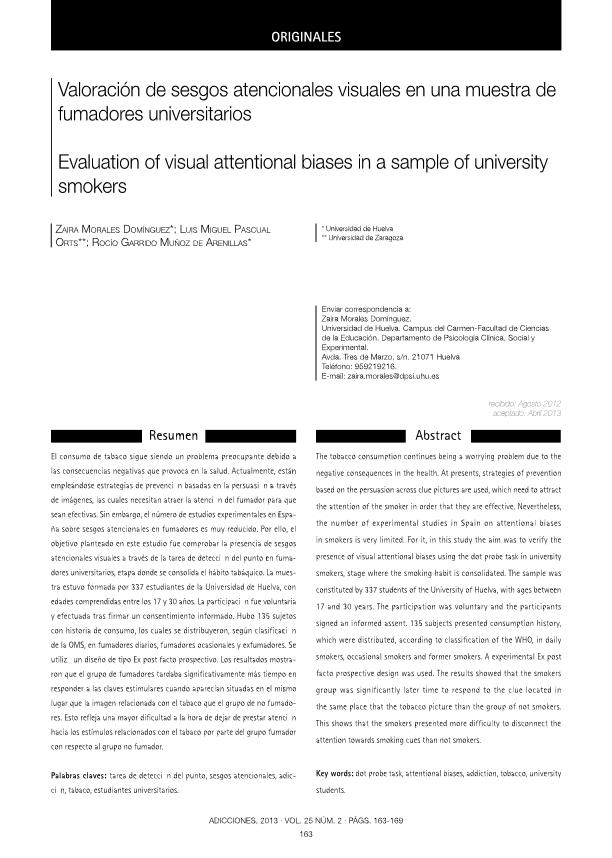 Valoración de sesgos atencionales visuales en una muestra de fumadores universitarios