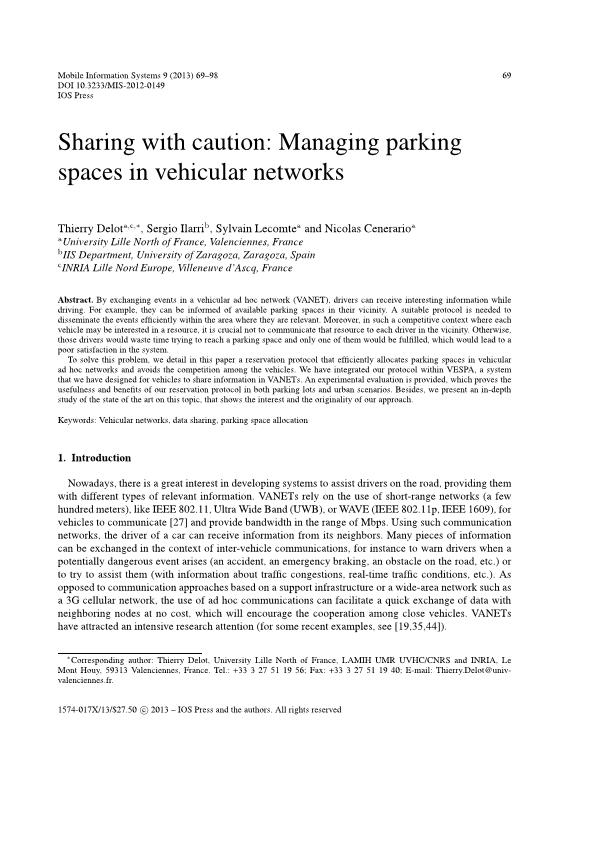Sharing with Caution: Managing Parking Spaces in Vehicular Networks