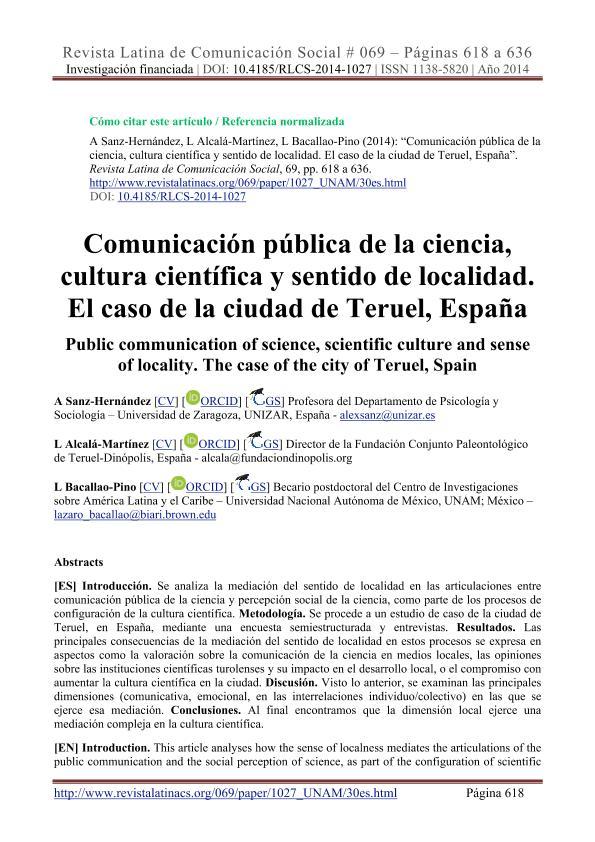 Comunicación pública de la ciencia, cultura científica y sentido de localidad. El caso de la ciudad de Teruel, España