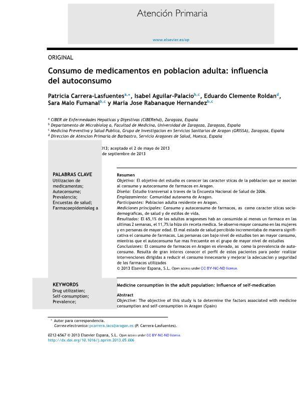 Consumo de medicamentos en población adulta: influencia del autoconsumo