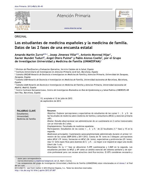 Los estudiantes de medicina españoles y la medicina de familia. Datos de las 2 fases de una encuesta estatal