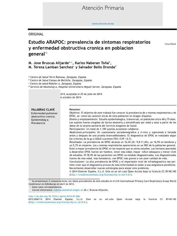 Estudio ARAPOC: prevalencia de síntomas respiratorios y enfermedad obstructiva crónica en población general