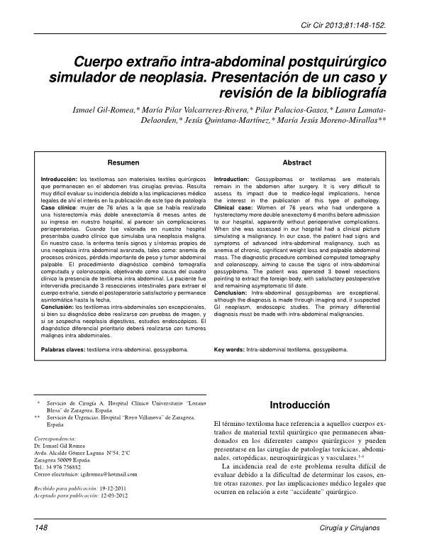 Cuerpo extraño intra-abdominal postquirúrgico simulador de neoplasia. Presentación de un caso y revisión de la bibliografía