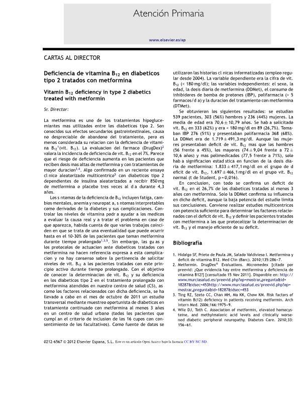 Deficiencia de vitamina B12 en diabéticos tipo 2 tratados con metformina
