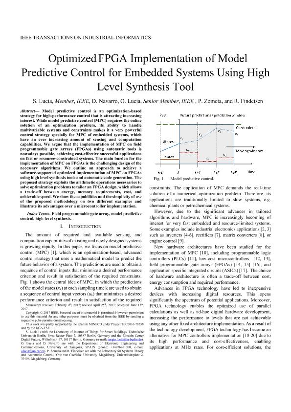 Optimized FPGA Implementation of Model Predictive Control for Embedded Systems Using High-Level Synthesis Tool