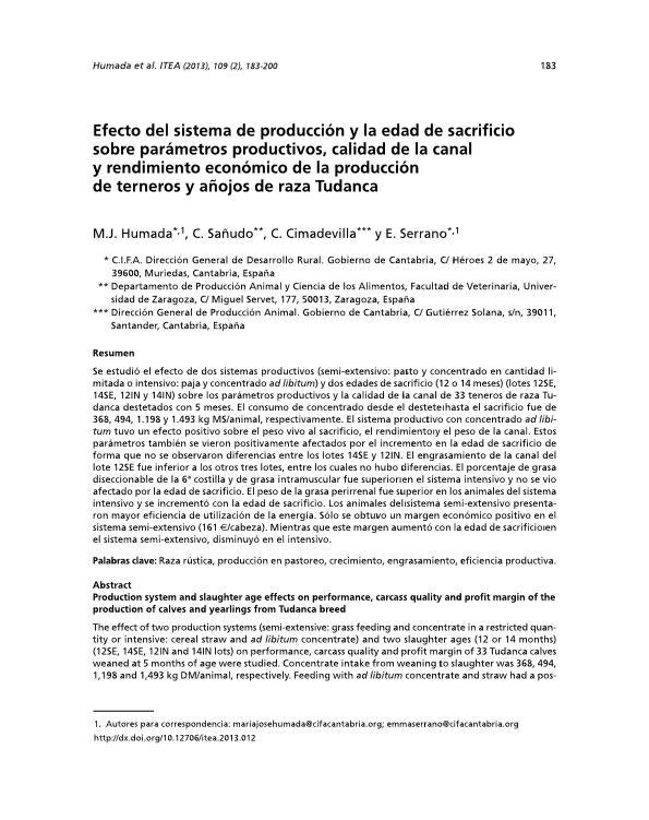 Efecto del sistema de producción y la edad de sacrificio sobre parámetros productivos, calidad de la canal y rendimiento económico de la producción de terneros y añojos de raza Tudanca