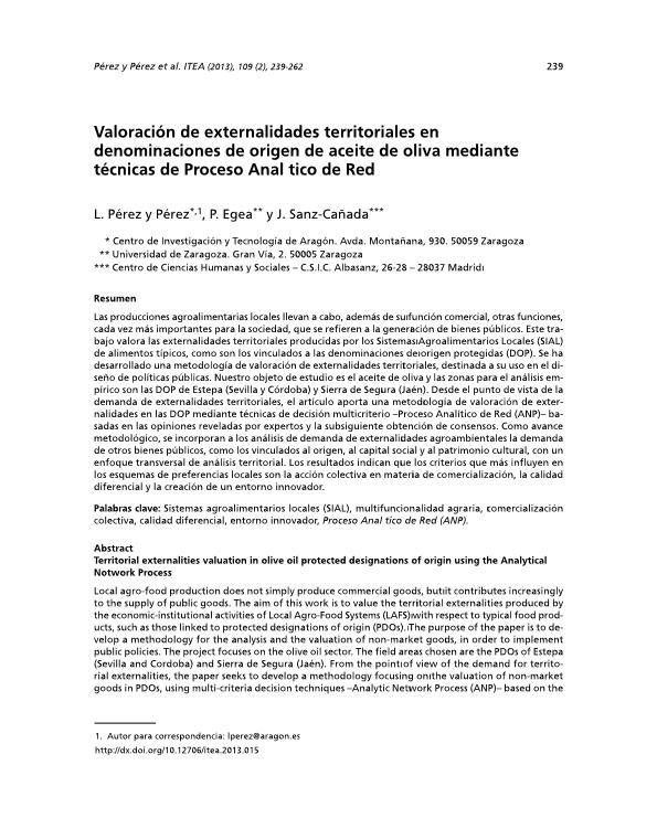 Valoración de externalidades territoriales en denominaciones de origen de aceite de oliva mediante técnicas de Proceso Analítico de Red