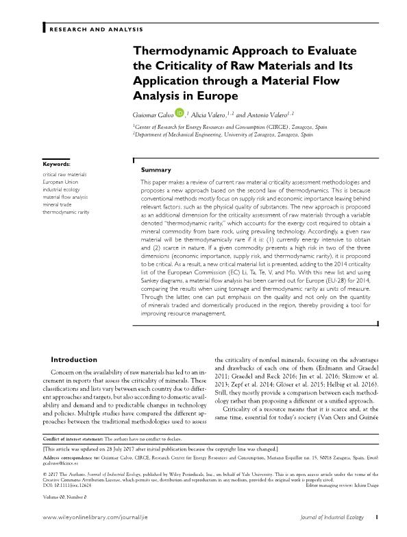 Thermodynamic approach to evaluate the criticality of raw materials and its application through a material flow analysis in Europe