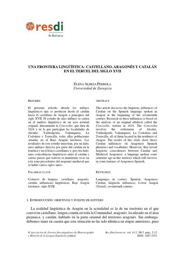 Una frontera lingüística: castellano, aragonés y catalán en el Teruel del siglo xvii