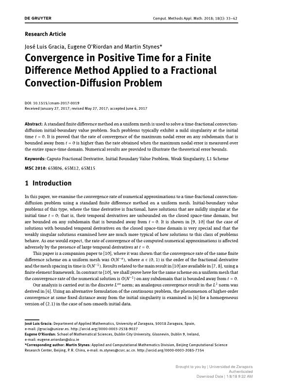 Convergence in positive time for a finite difference method applied to  a fractional convection-diffusion equation
