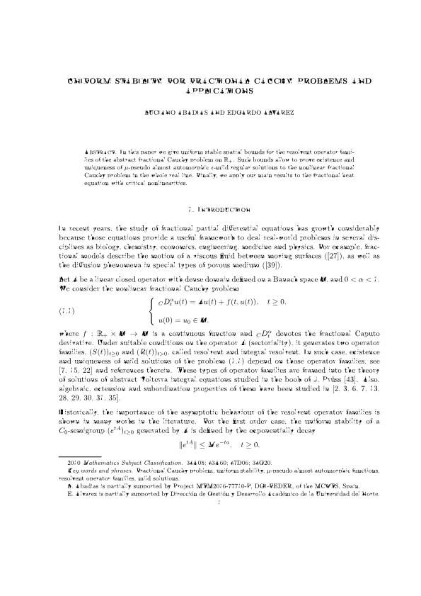 Uniform stability for fractional Cauchy problems and applications