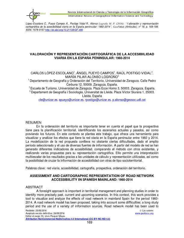 Valoración y representación cartográfica de la accesibilidad viaria en la España peninsular: 1960-2014V