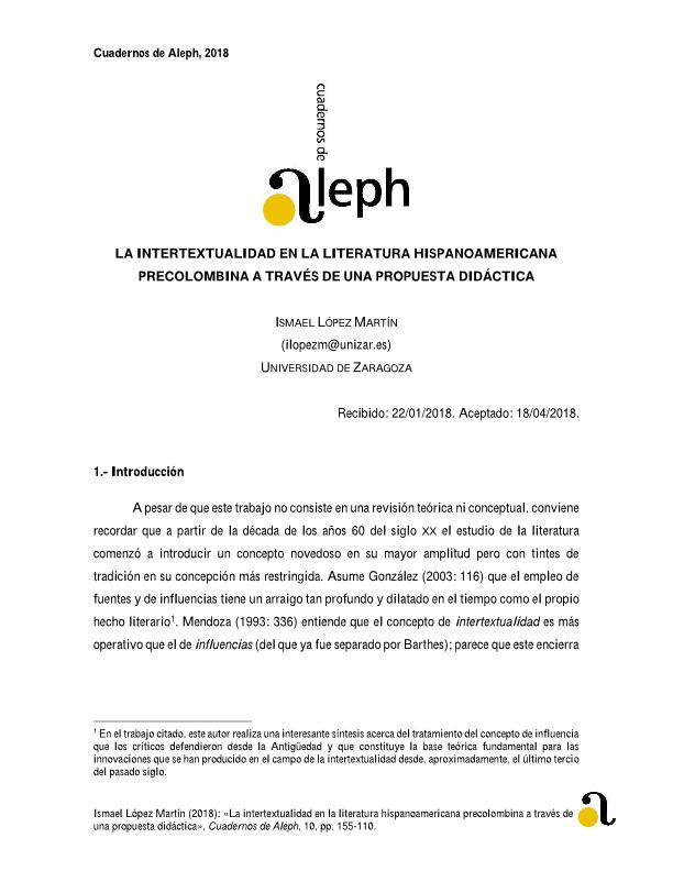 La intertextualidad en la literatura hispanoamericana precolombina a través de una propuesta didáctica