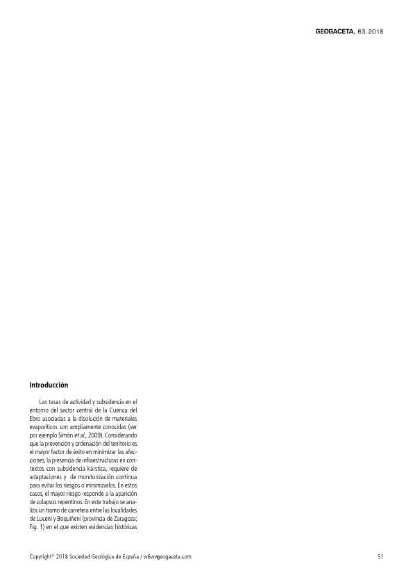 Evaluación de la aplicación de prospección geofísica por georradar en la caracterización previa y monitorización de la peligrosidad kárstica por subsidencia y colapso en carreteras (caso del tramo Luceni-Boquiñeni, Zaragoza)