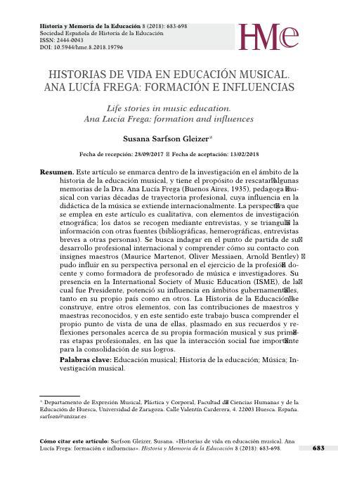 Historias de vida en educación musical: Ana Lucía Frega, formación e influencias.