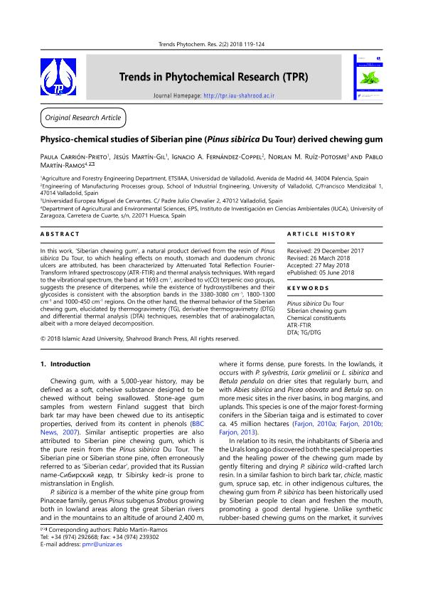 Physicochemical studies of Siberian pine (Pinus sibirica) derived chewing gum